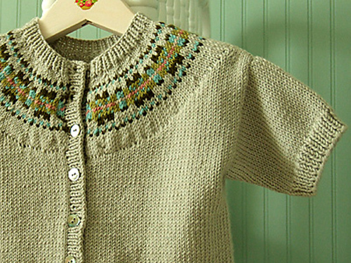 Ravelry: Cardigan with Fairisle Yoke pattern by Debbie Bliss