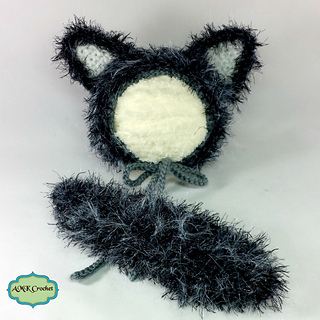 Ravelry  Newborn Fuzzy Wolf Hat and Unattached Tail Prop pattern by ... 4cb1311608c