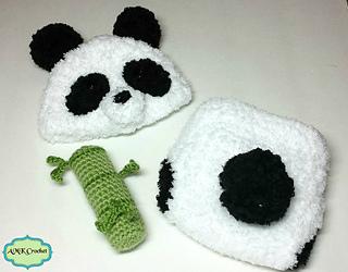 Ravelry Panda Hat Diaper Cover And Amigurumi Bamboo Set