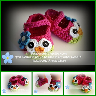 f98ffc94b636d Ravelry: No. 23 Owl Mary Janes Slippers pattern by Mary Angel Morris
