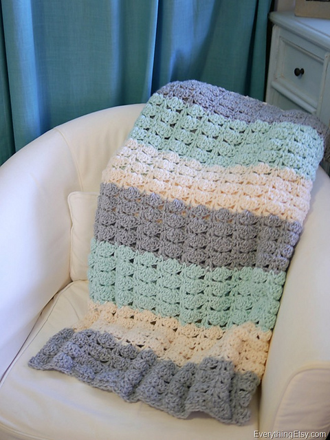 Ravelry Easy Crochet Shell Stitch Blanket Pattern By Kim Layton