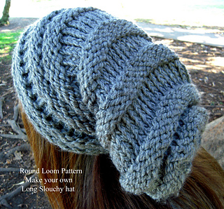 Ravelry  Women s long slouchy hat loom pattern pattern by Ava Girl ... 0a5bb948cd