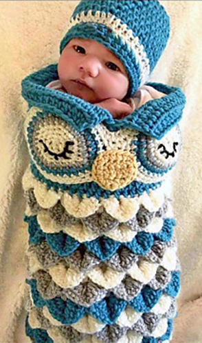 Ravelry Newborn Owl Cocoon Hat Olive Pattern By Ava Girl Designs
