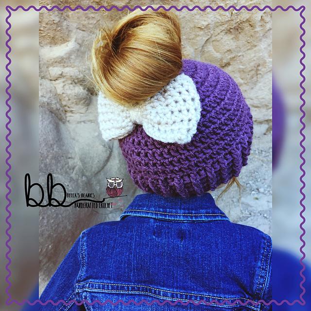 patterns   Becca s Beanies on Etsy.   Messy Bun Bow Beanie c82473f6b81