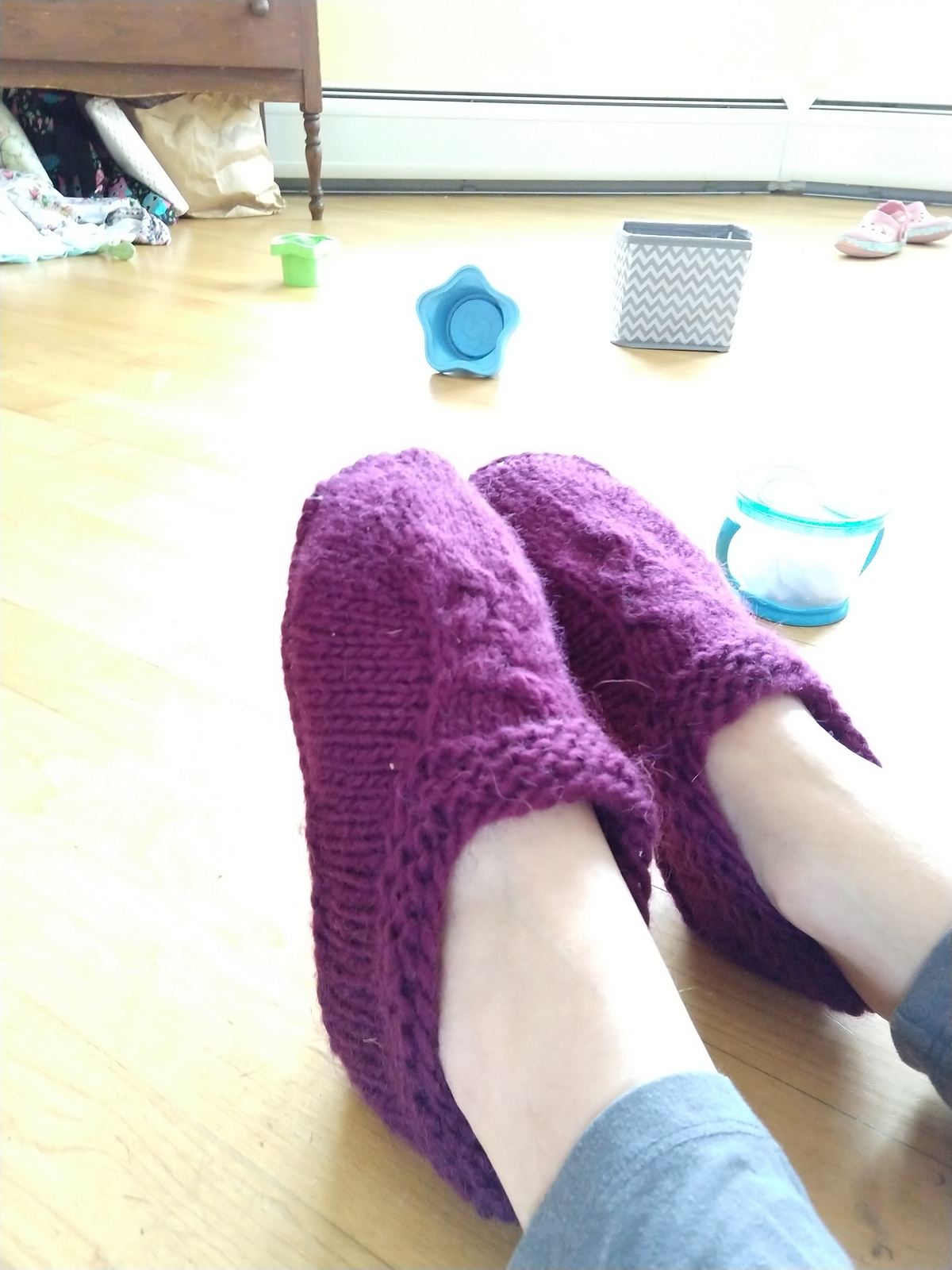 two feet in slippers