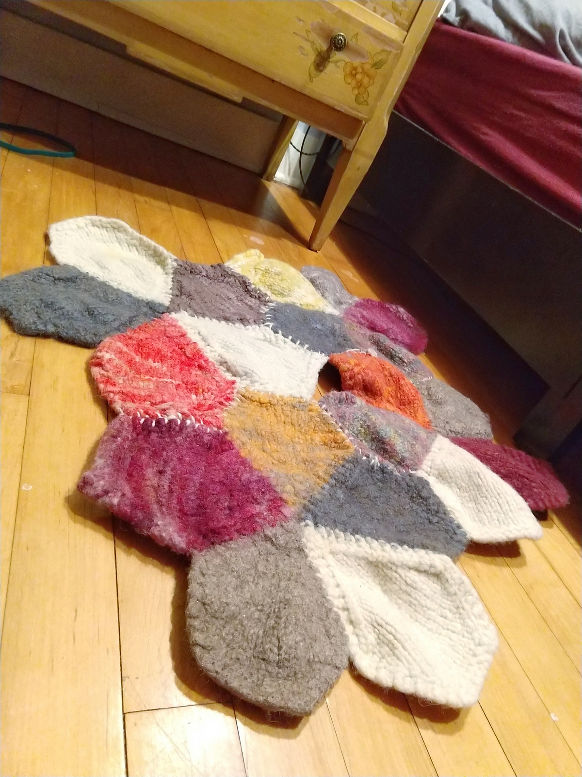felted wool bedside rug