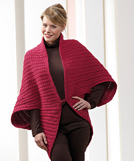 51158283524ad Ravelry  Sideways Cable Poncho pattern by Red Heart Design Team