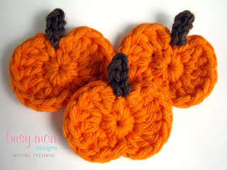 Ravelry simple pumpkin appliqué fast and easy pattern by busy