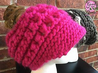 0503b3ffc28 Ravelry  Newsboy Messy Bun or Ponytail Hat on loom pattern by Kristen Mangus