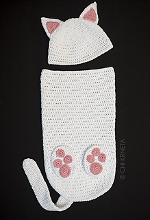 Ravelry cat baby cocoon hat bootie set pattern by chi krneta chi krneta dt1010fo