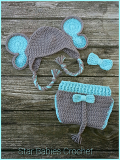 54aa509e3 Elephant Hat and Diaper Cover for Boy or Girl pattern by Briana K Designs