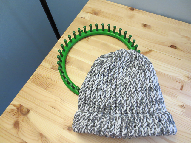 Ravelry Easy Loom Knitted Hat With A Brim Pattern By Crafting With