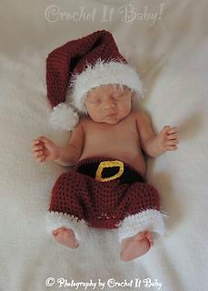 4fd4d3751 Santa Hat and Pants Set (Newborn) pattern by Crochet It Baby