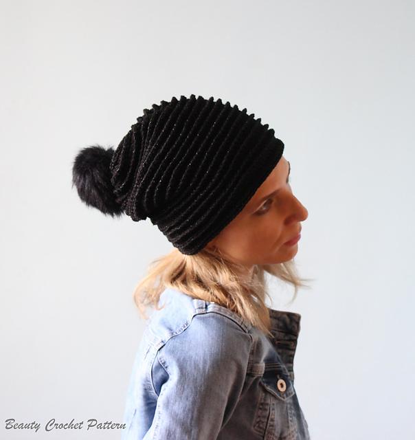 Ravelry: Crochet Slouchy Beanie with Pom Pom pattern by Beauty ...