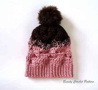 151faf0adef Ravelry  Gradient Color Cable Hat pattern by Beauty Crochet Pattern
