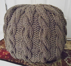 Cable Knit Pouf Ottoman By Myra Hollingsworth. © Myra Hollingsworth