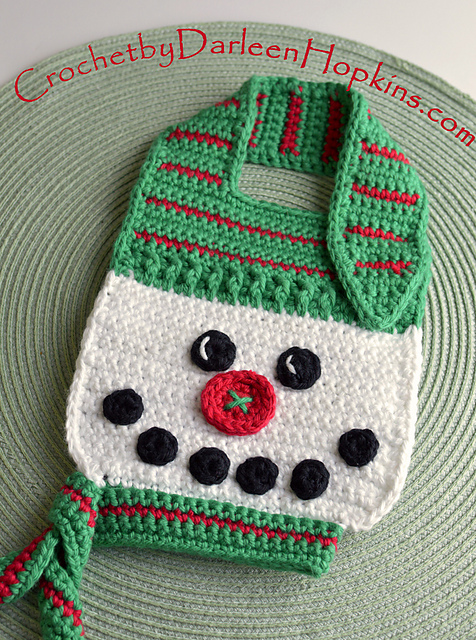 Ravelry Button Nose Snowman Baby Bib Pattern By Darleen Hopkins