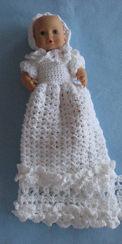 Ravelry 12 Inch Baby Doll Christening Gown Bonnet Pattern By