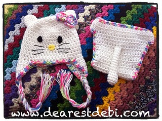 795b38d6c37 Ravelry  Newborn Hello Kitty Hat   Diaper Cover pattern by Debi Dearest