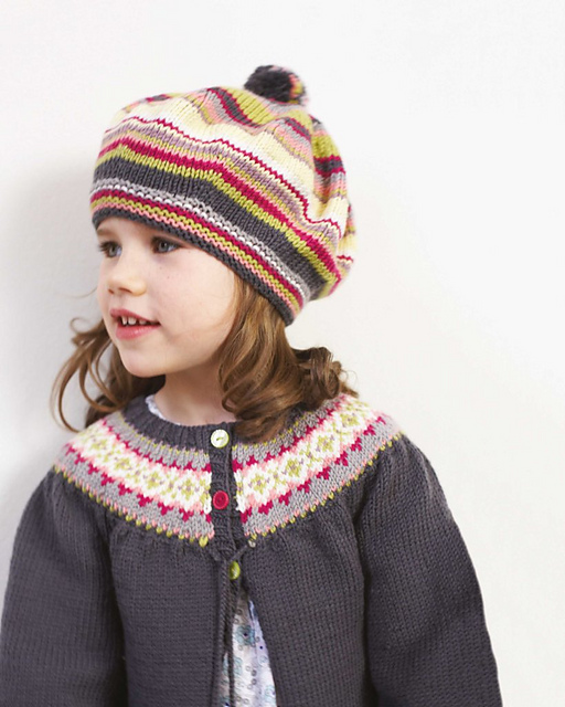 Ravelry: DB119 - Fair Isle Yoke Cardigan & Striped Beret pattern ...