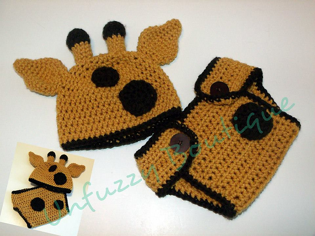 Ravelry Unfuzzys Giraffe Hat And Diaper Cover Set Pattern By