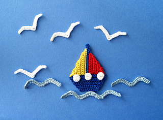 Ravelry: sailboat seagull and waves applique crochet pattern