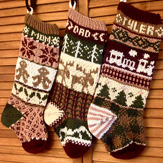 ravelry rustic fair isle christmas stockings pattern by simply serving designs