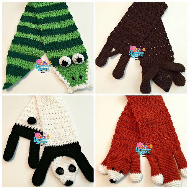Ravelry Silly Animal Scarves Pattern By Gramma Beans