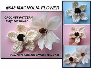 Free Crochet Magnolia Flower Pattern : Ravelry: 648 MAGNOLIA CROCHET FLOWER pattern by Emi Harrington
