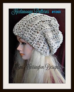 cfd17002 1060 Slouchy Hat pattern by Emi Harrington