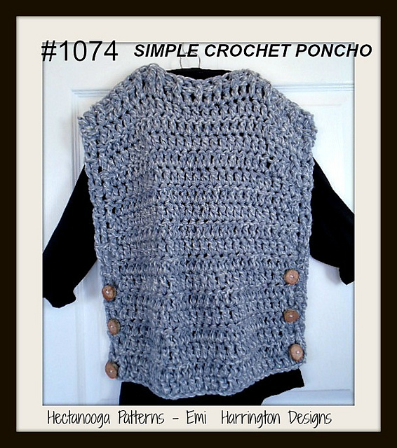 Ravelry 1074 Simple Wrap Poncho Pattern By Emi Harrington