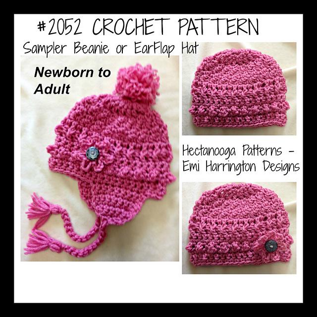 Ravelry 2052cro Beanie Or Ear Flap Hat Pattern By Emi Harrington