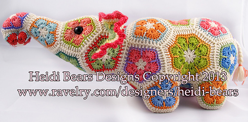 Ravelry Nellie The Elephant African Flower Pattern By Heidi Bears