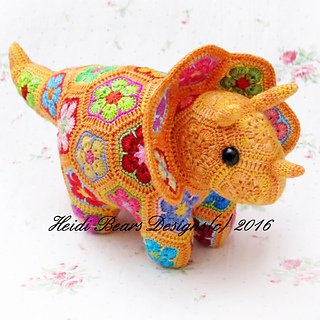 Ravelry Plod The African Flower Triceratops Pattern By Heidi Bears