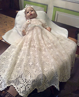 Ravelry Filet Floral Edge Christening Gown Pattern By Halina Matson