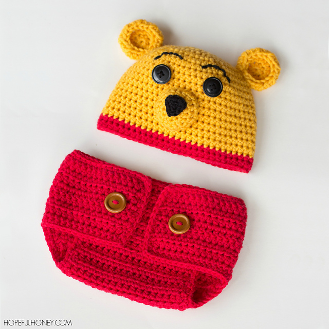 Ravelry Winnie The Pooh Hat Diaper Set Pattern By Olivia Kent