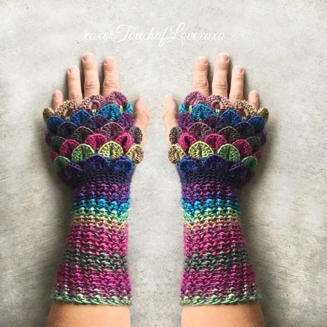 Ravelry: Mermaid Dragon Fingerless Gloves pattern by Sheila Hunt