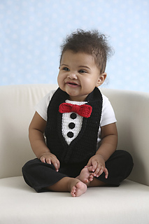 35f4bf5a8 Pretty Spiffy Tuxedo Baby Bib pattern by Darleen Hopkins - Ravelry