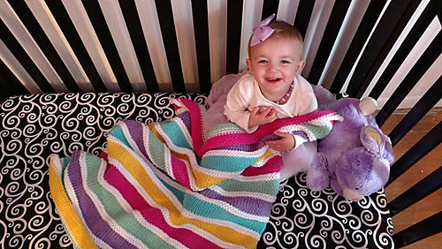 Ravelry Over The Rainbow Baby Girl Knit Blanket Pattern By Mary Legere