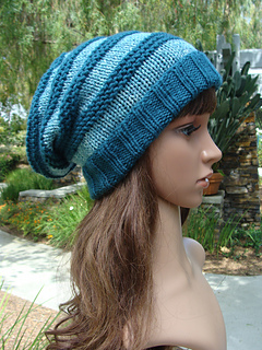 eaf1a838321 Ravelry  Striped slouchy with fold up brim pattern by Mary Legere