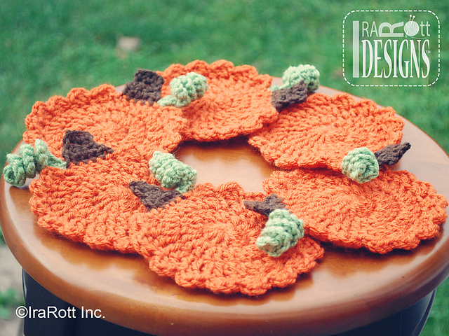 FREE Crochet Pattern | Pumpkin Coasters by Ira Rott on @ravelry