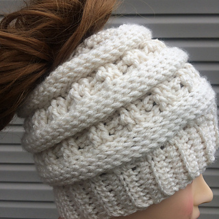Ravelry  Apex Messy Bun Hat pattern by Jen Causley 8ccdcc4d22d