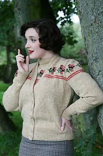Vintage Knitting Pattern Library : Ravelry: Trimmed with Roses Twinset Cardigan pattern by ...