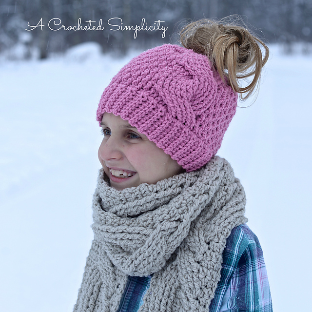 Ravelry Big Bold Cabled Ponytail Beanie Slouch Pattern By Simple Ponytail Beanie Crochet Pattern