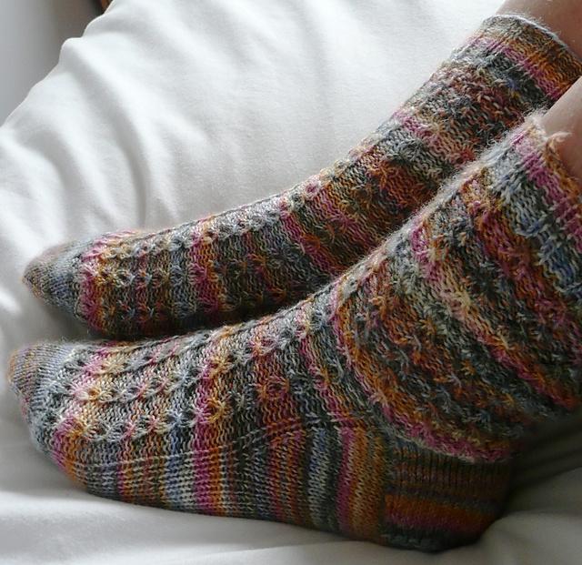 Ravelry Lacy Mock Cable Socks Pattern By Kat Katinkorea