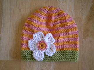 Ravelry Knitted Baby Hats With Crocheted Flowers Pattern