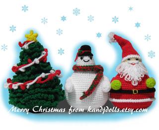 Amigurumi Snowman : Ravelry santa snowman and tree amigurumi pattern by sayjai