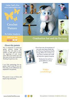 Graduation hat for Amigurumi toys (LittleOwlsHut)
