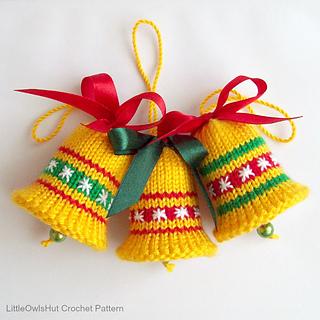 Ravelry 088 bells christmas decor pattern by littleowlshut for Knitted christmas bells