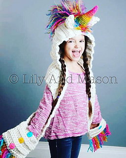 Knitting Pattern For Unicorn Hooded Scarf : Ravelry: Rainbow Unicorn Hooded Scarf pattern by Keri ...